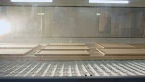 Geautomatiseerde houten het schilderen robot in een faciliteit van de meubilairproductie stock videobeelden