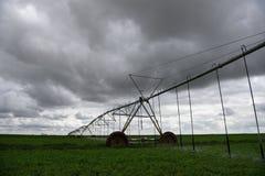 Geautomatiseerde landbouw de irrigatiegebied van de centrumspil het water geven sprenkelinstallatie royalty-vrije stock foto's