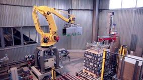 Geautomatiseerde Robotachtige Wapen Lading en het assembleren producten stock videobeelden