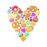 Gebäck, Bonbons und Süßigkeiten vector Herzhintergrund Lizenzfreies Stockfoto