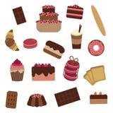 Gebäck-Kuchen-und Bonbon-Ikonen-Satz Stockfotos