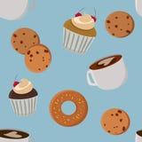 Gebäck und nahtloser Hintergrund des Kaffees Lizenzfreies Stockfoto
