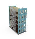 Gebäude 3d auf Weiß lizenzfreie abbildung