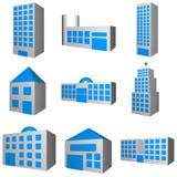 Gebäude-Architektur eingestellt in 3d Stockbilder