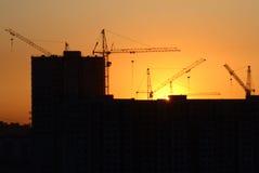 Gebäude auf dem Sonnenuntergang Stockfotografie