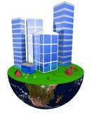 Gebäude auf Erde Lizenzfreies Stockfoto