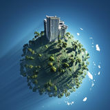 Gebäude auf grünem Planeten Stockbild