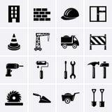 Gebäude-, Bau- und Werkzeugikonen Lizenzfreies Stockbild