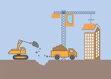 Gebäude Baukran und -bagger Flaches Vektor illustra Lizenzfreie Stockfotos