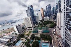 Gebäude bis zum Tag in Hong Kong Stockbild