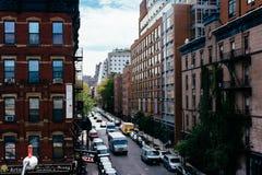Gebäude in Chelsea gesehen von der hohen Linie in Manhattan, neues Y Stockfoto