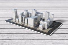 Gebäude der Stadt 3D auf digitaler Tablette auf Holztisch Stockfoto