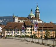 Gebäude des historischen Stadtteiles von Solothurn, Switzer Stockbilder