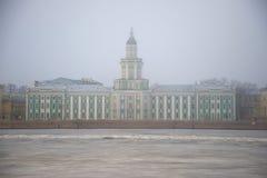 Gebäude des Kunstkammer im März-Nebel St Petersburg, Russland Stockbild