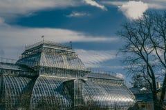 Gebäude des Staatseigentums botanischen Gartens St Petersburg mit szenischem Himmel Lizenzfreies Stockfoto