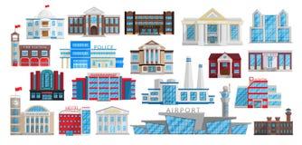 Gebäude eingestellt lokalisiert im flachen Artvektor lizenzfreie abbildung