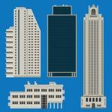 Gebäude eingestellt mit Wolkenkratzern Stockfotos