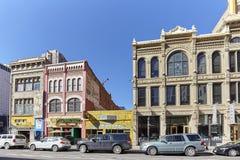 Gebäude entlang Champa St. in Curtis Park in Denver Lizenzfreie Stockfotografie
