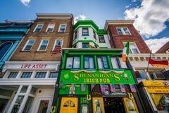 Gebäude entlang 18. Straße in Adams Morgan, in Washington, DC Lizenzfreies Stockfoto