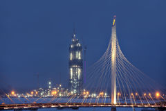 Gebäude-Gazprom-Turm, St Petersburg, Russland, Winterabend Stockbild