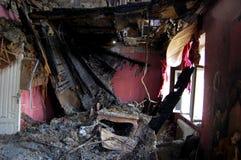 Gebäude gebrannt Stockfoto