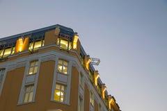 Gebäude gegen den Abendhimmel Lizenzfreies Stockbild