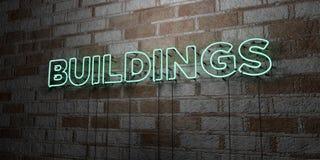 GEBÄUDE - Glühende Leuchtreklame auf Steinmetzarbeitwand - 3D übertrug freie Illustration der Abgabe auf Lager lizenzfreie abbildung