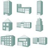 Gebäude-Ikonen-Set Lizenzfreies Stockfoto