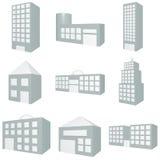 Gebäude-Ikonen-Set Stockfoto