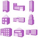 Gebäude-Ikonen-Set Stockfotos