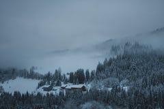Gebäude im Nebel Stockfotos