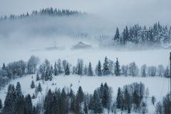 Gebäude im Nebel Stockbild