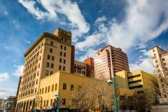Gebäude in im Stadtzentrum gelegenem Albuquerque, New Mexiko Lizenzfreies Stockbild