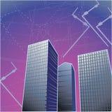 Gebäude im violetten Farbton Stockfoto