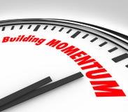 Gebäude-Impuls-Uhr-Zeit-Wörter, die sich vorwärts bewegen Stockfoto