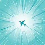 Gebäude mit Flugzeugvektor Lizenzfreie Stockfotografie