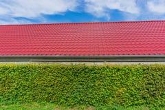 Gebäude mit rotem Dachspitzentiling und -hecke stockfoto