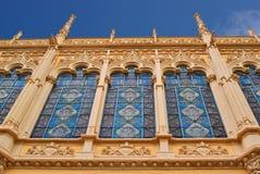 Gebäude mit Spitzefronten der Stadt Valencia Spanien Stockbild