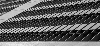 Gebäude mit steifen Formen auf Grayscale mit einem Vogel auf Unterseite Lizenzfreie Stockbilder