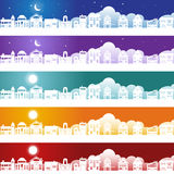 Gebäude mit Wolken-Hintergrund-Set Lizenzfreie Stockbilder