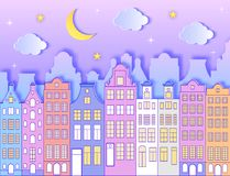 Gebäude, Mond, Sterne und Wolken vektor abbildung