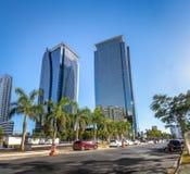 Gebäude an Morumbi-Nachbarschaft in Sao Paulo-Finanzbezirk - Sao Paulo, Brasilien stockbild