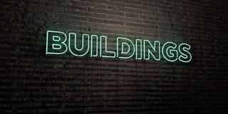 GEBÄUDE - realistische Leuchtreklame auf Backsteinmauerhintergrund - 3D übertrugen freies Archivbild der Abgabe lizenzfreie abbildung