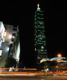 Gebäude Taipei-101 nachts Stockfotografie