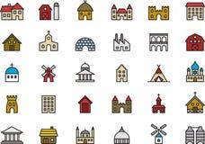 Gebäude und Bauikonen Lizenzfreies Stockfoto