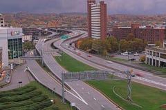 Gebäude und Fahrbahnen in Albanien, NY Lizenzfreies Stockbild