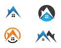 Gebäude und Hauptlogodesignvektorschablone Stockfoto