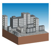 Gebäude und Straßen in der Stadt stock abbildung