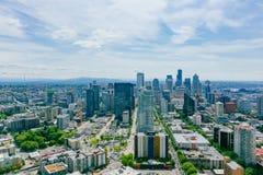 Gebäude und Straßen von im Stadtzentrum gelegenem Seattle, USA stockfoto