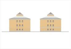 Gebäude und Strukturen vom frühen und von der Mitte des 20. Jahrhunderts Zeichnungen von Häusern der klassischen Architektur des  Lizenzfreie Stockfotografie